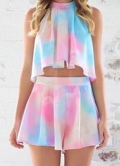 Hot Rainbow Two Piece Dress