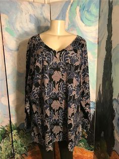 d47c1a1296bc9b Woman Within Plus 22 24 Blue Floral V-Neck Ribbed Trim Long Sleeve Tunic Top