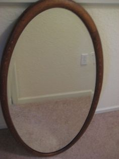 Antique Oak Wood Frame Oval Beveled Glass Mirror 39 1 4 With
