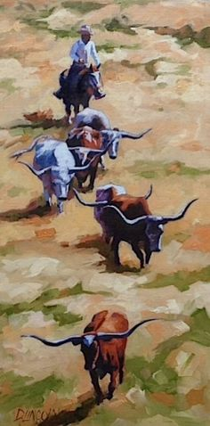 Downhill Cattle Drive, painting by artist Debbie Grayson Lincoln