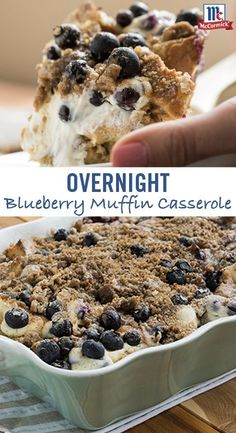 Win breakfast with this tasty overnight casserole recipe. Pure Lemon Extract adds bright flavor to the blueberry muffin base swirled with cream cheese. Top it all off with a mouthwatering brown sugar and cinnamon streusel. Prepped the night before and ba Lemon Blueberry Muffins, Blue Berry Muffins, Blueberry Recipes For Breakfast, Blueberries Muffins, Delicious Desserts, Yummy Food, Dessert Healthy, Appetizer Dessert, Little Lunch