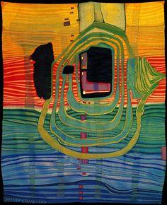 Hundertwasser 458A Aurore--Dawn tapestry Weaver: Hilde Absalon, Vienna 1968 (would have been woven free-hand w/o cardboard template)