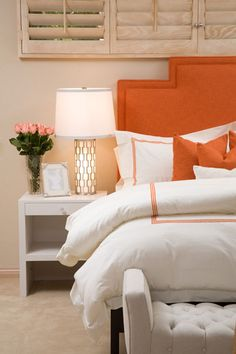 LOVE the orange headboard Shiplap Headboard, Painted Headboard, Headboard Benches, Bookcase Headboard, Headboards, Coral Bedroom, Bedroom Orange, Modern Home Interior Design, Interior Architecture