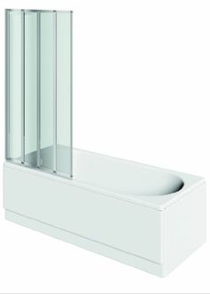 Folding Bath / Shower Screen With Polished Silver Frame - http://showerdoorspares.co.uk/complete-screens/complete-bath-screens/folding-bath-shower-screen-with-polished-silver-frame