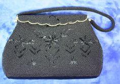 Black Beaded Evening Handbag Purse Hong Kong by PastSplendors