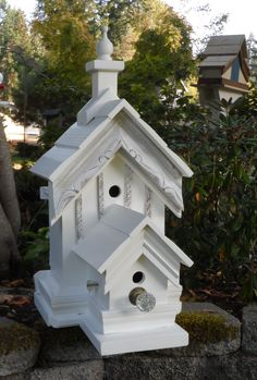 My absolute favorite birdhouse that I have ever built! Vintage Crystal door knob, awesome trim molding and lots of pretty details. I may have to keep this one! https://www.facebook.com/Carlasgardenanddecor