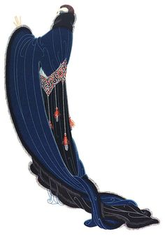 OPERA COAT, C.1916 Who but Erté could conceive of sleeves so long that they loop about the full velvet train and girdle that is all points and tassels? The front of this sumptuous opera coat differs but little from the back. The tassels are there and the fur bands, but the lower edge of the skirt is several inches from the floor.