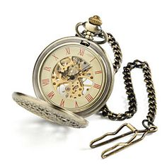 "This intricate timepiece features a super cool see-through spider web design on its lid. Flip open the antique brass shell and reveal the fully functional watch. It comes with a matching 12"" chain with a vest clip to keep it securely on your person."