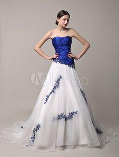 Abito da sposa con corpetto increspato blu royal e scollo a cuore. (Il colore del corpetto è uguale al ricamo di fiore, si può essere personalizzato. )
