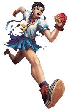 Sakura: white schoolgirl top, red gloves, blue skirt or shorts, white headband