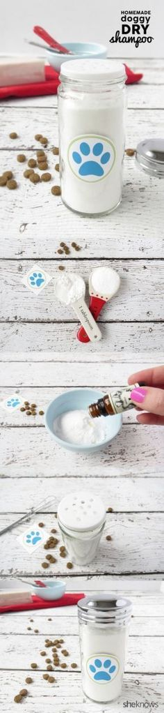 DIY dog deodorizer for in between baths. I love putting it inside a big salt shaker like the pic, for easy access, especially with an active puppy.