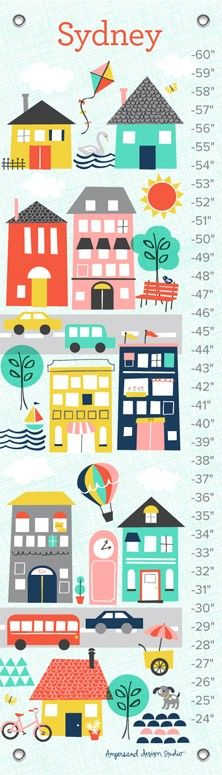 """Trip To The City"" Personalized Growth Charts by Ampersand Design Studio for Oopsy Daisy $49 (save up to 20% thru 1/29)"