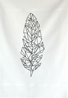 geometric feather tattoo... could look really cool colored in.