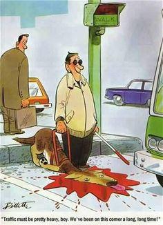 blind man and heavy traffic..cartoon
