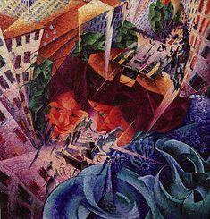 Vision simultanée, 1911, Umberto Boccioni Vision simultanée, 1911, Umberto Boccioni, (Wuppertal, Ven der Heydt Museum). Cette peinture représente les caractéristiques fondamentales du futurisme : l'attention pour la ville, la décomposition dynamique des objets, le rapport entre l'architecture et les figures. La « simultanéité » de la vision est la présence simultanée des objets, figures et fonds, tous mis en mouvement, dans le sens rotatoire d'un tourbillon. Boccioni, fondateur du groupe