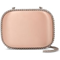 Stella Mccartney Nude Falabella Satin Clutch ($2,085) ❤ liked on Polyvore featuring bags, handbags, clutches, purses, coral, nude clutches, red clutches, handbag purse, stella mccartney purse and satin purse