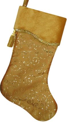 Gold Sparkle Embroidered Christmas Stockings