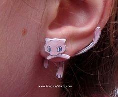 Mew Pokemon Clinging earrings Handmade kawaii gamer two part front and back post earrings on Etsy, $7.50