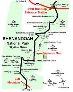 skyline drive map   Shenandoah National Park Map 6 copyright map by Alan Eastep