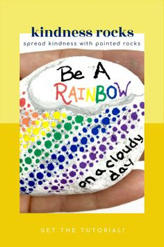 These rainbow painted rocks make fantastic kindness rocks. This tutorial will walk you through how to create this fun dotted rock painting idea. Use this dotted rock for hiding, giving as a gift, or decorating your home or office. #dotted #rainbow #paintedrock #kindnessrocks #rockpainting101 Rock Painting Ideas Easy, Kindness Rocks, Stone Painting, Painted Rocks, Decorating Your Home, Diy And Crafts, Dots, Rainbow, Create