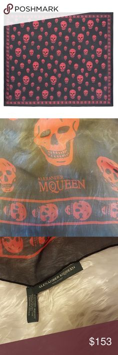 💀Alexander McQueen💀Silk Chiffon Skull Scarf NWOT Classic McQueen Skull Scarf NWOT Needs love given as gift but own 2 McQ already...Never worn...No pulls Approx 50×52 Alexander McQueen Accessories Scarves & Wraps