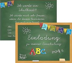 8 Einladungskarten Schulanfang Einschulung. 1 Schultag Einladung Tafel