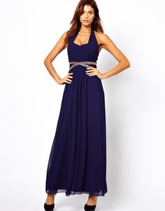 Little Mistress Halter Maxi Dress with Embellished Waist  I would change the embellished bit in the middle (kj)