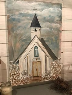 Winter Painting, Diy Painting, Painting & Drawing, Large Painting, Painting Tutorials, Christmas Paintings On Canvas, Dark Art Drawings, Christian Art, Christian Church