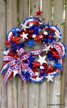 """Door Wreath """"Fireworks"""" 4th of July Silk Floral Patriotic Sparkle Red White Blue by Cottage Crafts Online"""