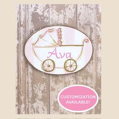 "This plaque features a lovely pink and brown baby carriage on a striped background. Inside the carriage, you can have your child's name handpainted in pink. This would make a great gift or decoration for your home or child's room! Can also be hung using the rings on the back of the board. <br><br> This oval plaque features a lovely print of a handpainted image affixed to a wooden board. The custom name is handpainted. <br><br> • 14""W x 11""H<br>  • Wood<br>  • Pink and Brown<br>  • ..."