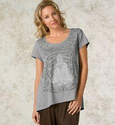 Flowing Spirit Tee: Channel your inner spirit in our organic cotton Buddha-inspired tee. Ultrasoft texture, flattering scoop-neck, and feminine shape. Get it at http://www.gaiam.com/flowing-spirit-tee/04-1421.html?utm_source=pinterest&utm_medium=socialmedia&utm_campaign=ptgaiamcom&extcmp=sm_pt_tc. #meditation