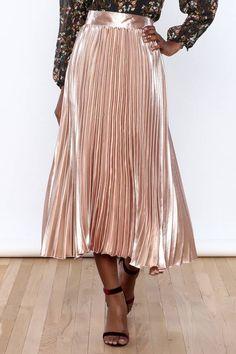 Satin Pleated Midi Skirt : Shoptiques