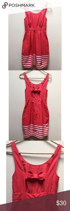 "☀️EUC Jack Wills Coral Striped Dress With Back Bow Jack Wills ""Fabulously British"" Coral Striped Dress With Back Bow, Pockets, Zipper and cut out back, size 2, in excellent used condition Jack Wills Dresses Midi"