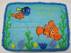 Easy Nemo Cake  Cupcakes In The Middle  Round Cake Halved - Finding nemo birthday cake