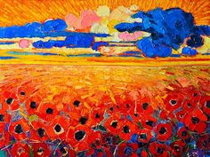 Abstract Field Of Poppies Under Cloudy Sunset~ Ana Maria Edulescu  fabulous oranges and blues!