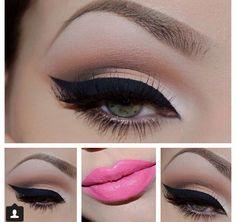Cat eye eyeliner and pink lipstick