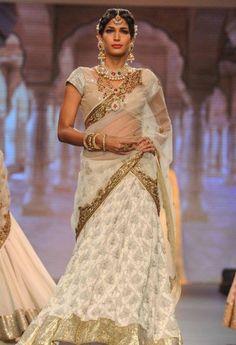 iijw 13 golecha jewels white sari bridal jewelry gold pearl ruby