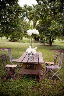 weathered wood table & chairs