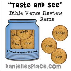 """""""Taste and See that the Lord is Good"""" Cookie Bible Verse review game for Children's Ministry from www.daniellesplace.com"""