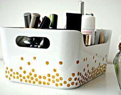 Click Pic for 34 DIY Makeup Storage Ideas   DIY Gold Dots Handprinted Makeup Case   Small Closet Organization Ideas   DIY Makeup Organizer Ideas