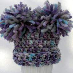 $28 Wool Crochet Baby hat with Pom poms on top!  Beautiful purple and blue shades.  Handmade with love.