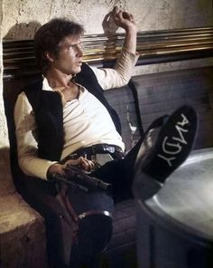 Harrison Ford as Han Solo in Star Wars, with a nod to Toy Story on his sole. Disney Star Wars, Disney Stars, Toy Story, Star Trek, Humour Geek, Film Science Fiction, Han Shot First, In Vino Veritas, A New Hope