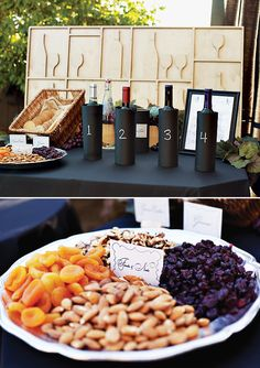 Cracker varieties in basket, fruit & nuts setup (instead of separate bowls or dishes) // A Rustic Glam Wine Tasting Party at Home