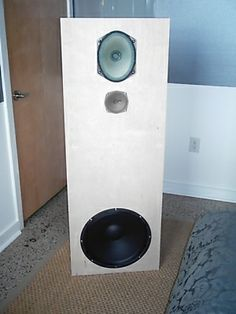 "Saba OB project - Endorphine P-17 open baffle speakers with Eminence Delta 15A, and SABA greencone oval, and Grundig 4"" tweeter"