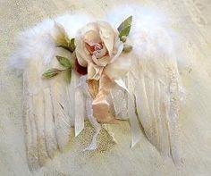 Angel wings with wonderful rose by Maria Godinho