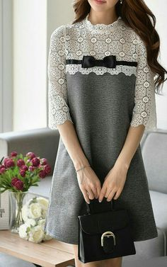 Shop Mini Dresses - Light Gray Sleeve A-line Paneled Mini Dress online. - Shop Mini Dresses – Light Gray Sleeve A-line Paneled Mini Dress online. Hijab Fashion, Fashion Dresses, Fashion Clothes, Kids Fashion, Womens Fashion, Fashion Design, Mini Robes, Mini Vestidos, Simple Dresses