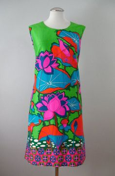 Vintage 60s Dress ALICE Psychedelic Shift Medium bust 38 at Couture Allure Vintage Clothing