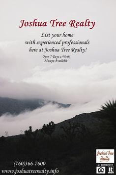 Listing your property?? Need an experienced realtor? Call Joshua Tree Realty today! (760)366-7600. Or visit www.joshuatreerealty.info!