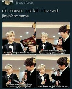Ahhh Chanyeol that's adorable!!! Also same, I wouldn't be able to handle Jimin's stare either <3