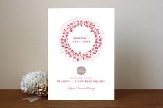 Red Wreath Business Holiday Cards by Gakemi Art+Design available through Orpheus Photography